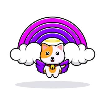 Gato fofo anjo e mascote de desenho de arco-íris