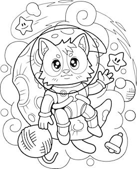 Gato fofo astronauta