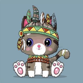 Gato fofo boho com ilustração de penas