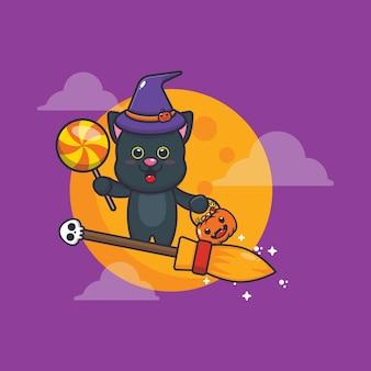 Gato fofo bruxa voar com vassoura na noite de halloween ilustração fofa dos desenhos animados de halloween