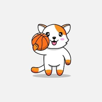Gato fofo carregando bola de basquete
