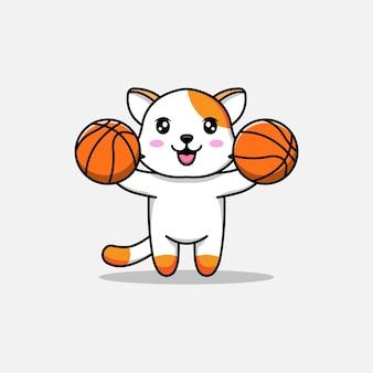 Gato fofo carregando bolas de basquete