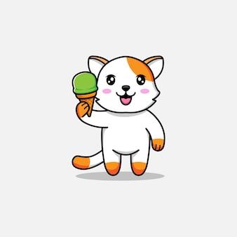 Gato fofo carregando sorvete