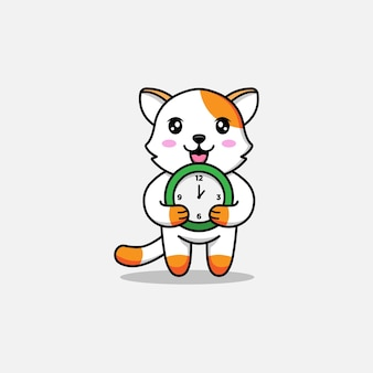 Gato fofo carregando um relógio