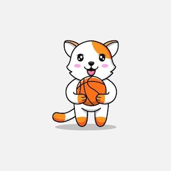 Gato fofo carregando uma bola de basquete