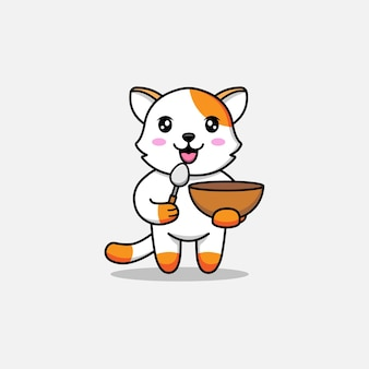 Gato fofo carregando uma colher e uma tigela