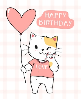 Gato fofo com balão de coração rosa ideia de feliz aniversário para cartão de aniversário para impressão