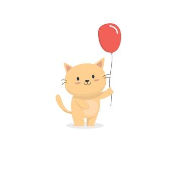 Gato fofo com balão vermelho