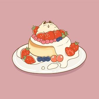 Gato fofo com bolo