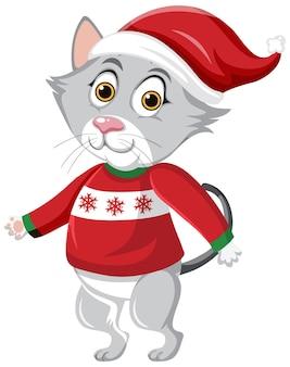 Gato fofo com boné de natal personagem de desenho animado