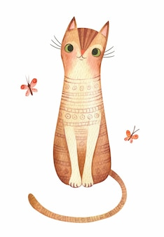 Gato fofo com borboletas ilustração em aquarela