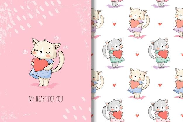 Gato fofo com coração e padrão uniforme