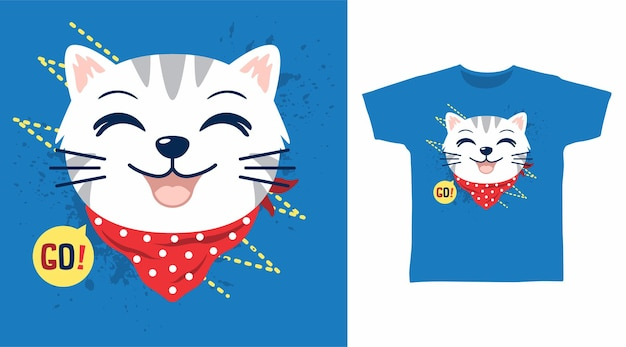 Gato fofo com design de camiseta bandana vermelha