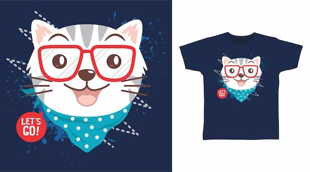 Gato fofo com design de camiseta bandana