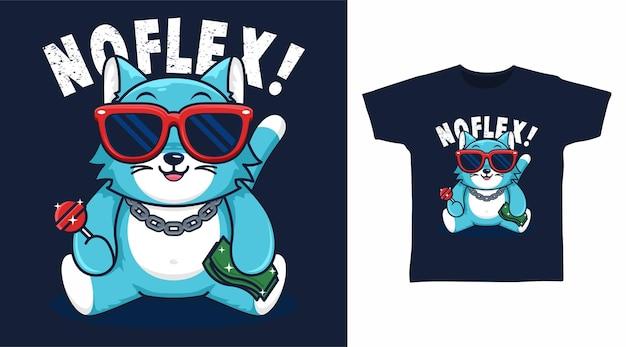 Gato fofo com design de camiseta de óculos