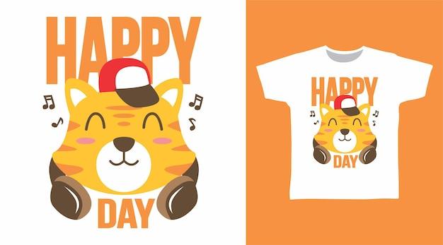 Gato fofo com design de tshirt de fone de ouvido