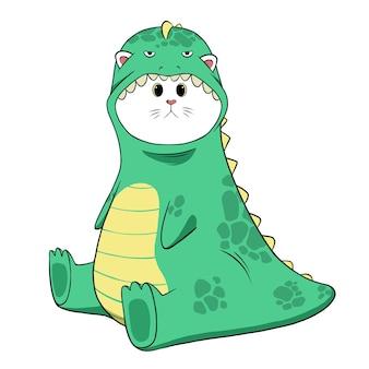 Gato fofo com fantasia de dinossauro