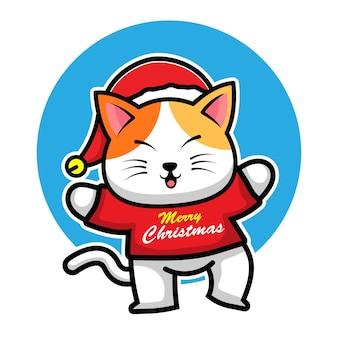 Gato fofo com fantasia de natal personagem de desenho animado animal ilustração de conceito de natal
