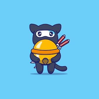 Gato fofo com fantasia de ninja carregando um grande sino