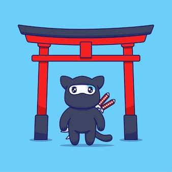Gato fofo com fantasia de ninja na frente do portão torii