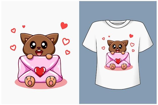 Gato fofo com ilustração de carta de amor