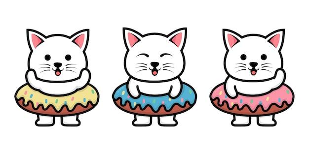 Gato fofo com ilustração de desenho animado de donut