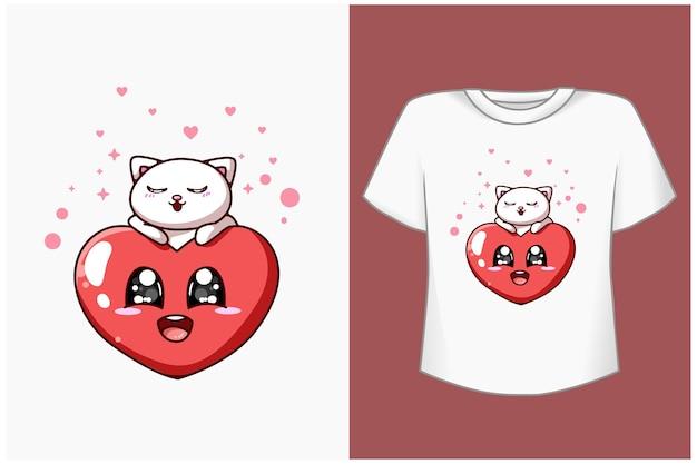 Gato fofo com ilustração de desenho de coração