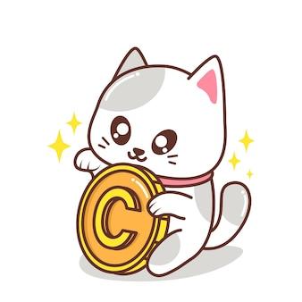 Gato fofo com ilustração de uma moeda grande