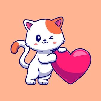 Gato fofo com ilustração do ícone do vetor dos desenhos animados do coração