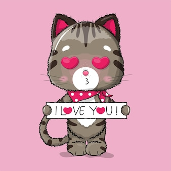 Gato fofo com ilustração do texto eu te amo