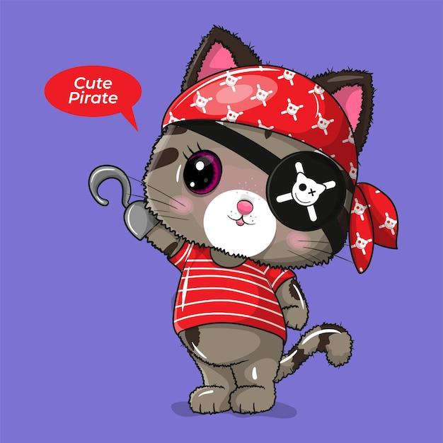 Gato fofo com ilustração personalizada de pirata