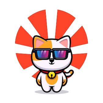 Gato fofo com mascote dos desenhos animados de óculos legais