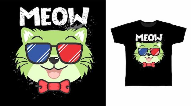 Gato fofo com óculos legais com design de camiseta