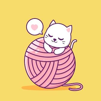 Gato fofo com uma grande bola de lã rosa