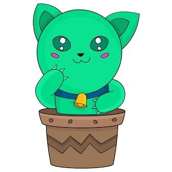 Gato fofo de desenho animado em um vaso