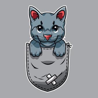Gato fofo de desenho animado no bolso