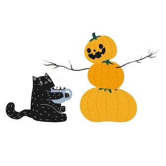 Gato fofo de halloween café preto com abóbora. boneco de neve de outono feito de abóboras