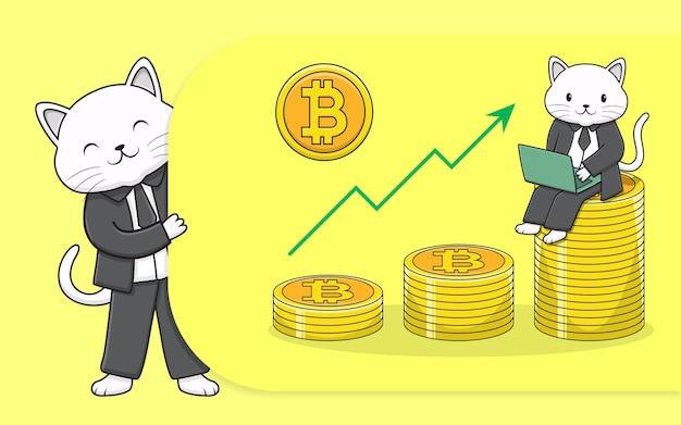 Gato fofo de negócios com moeda