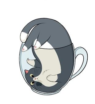 Gato fofo desenhado à mão na xícara de chá