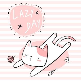 Gato fofo dormindo cartão de desenho animado de dia preguiçoso