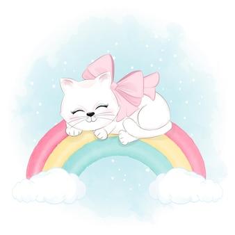 Gato fofo dormindo na ilustração animal do arco-íris em aquarela