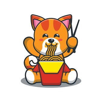 Gato fofo dos desenhos animados comendo macarrão