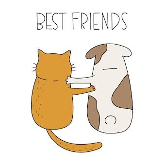 Gato fofo e cachorro sentados juntos letras manuscritas, melhores amigos