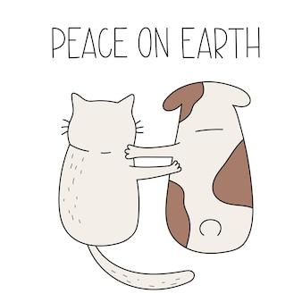 Gato fofo e cachorro sentados juntos, rotulando paz na terra. ilustração em vetor desenhada à mão