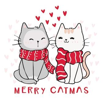 Gato fofo e feliz com cachecol vermelho de natal, merry catmas com coração