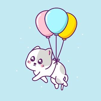 Gato fofo e feliz flutuando no ar com um balão