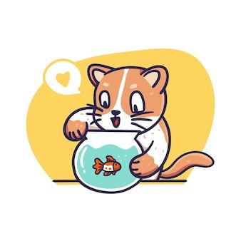 Gato fofo e laranja brincando com peixes na ilustração da tigela
