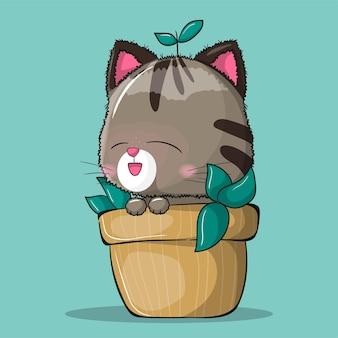 Gato fofo em uma ilustração de planta