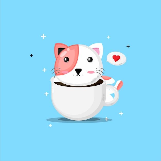 Gato fofo em uma xícara de café Vetor Premium