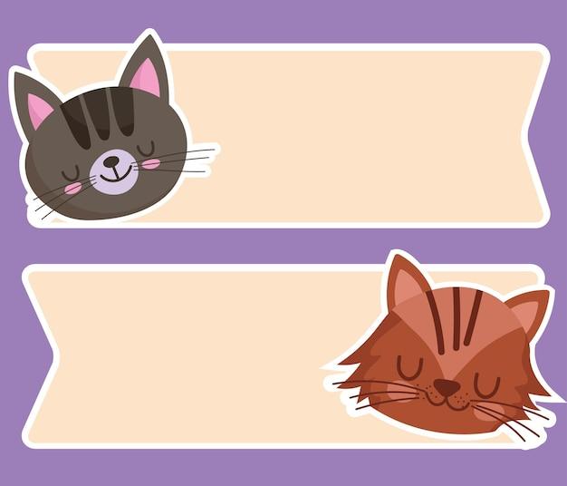 Gato fofo enfrenta animais desenho animado animal de estimação e ilustração de modelo de banners